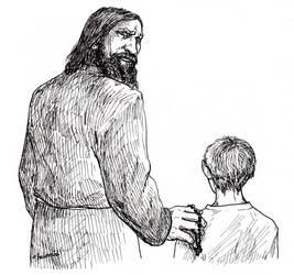 Rasputin and cesarevich Aleksei by FioreValentine
