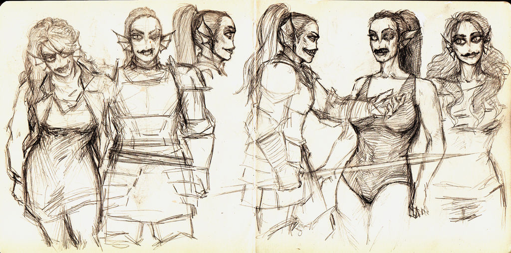 Just sketches with Undyne. Again. by FioreValentine