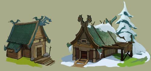 Viking huts1 by Shagan-fury