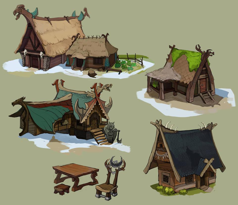 Viking huts and longhouses2 by Shagan-fury