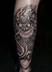 geo-owl  by PaulyDobsonTattoo