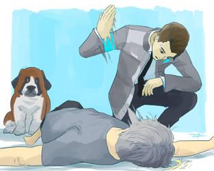 Connor slaps Hank by JeroCrisis