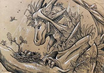 Inktober 2018 - 5 - Wildclaw Dragon by GalopaWXY