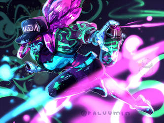 {league of legends} k/da akali [SPEEDPAINT] by Paluumin