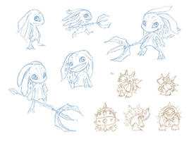LoL: Fizz and Rammus: Sketches by FeatherHarp
