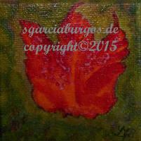 Blatt Rot auf Gruen by sgarciaburgos
