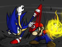 Sonic VS Mario by Bomber-Barbara