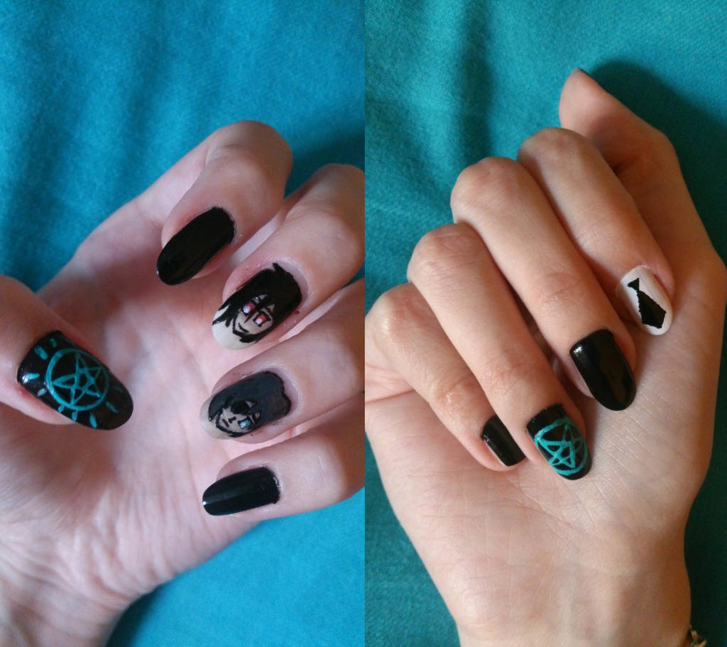 Black Butler Nail Art: Kuroshitsuji-Black Butler Nails On ManganiNAILS