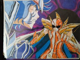 Ikki vs Kanon Saint Seiya by DragonNegro111