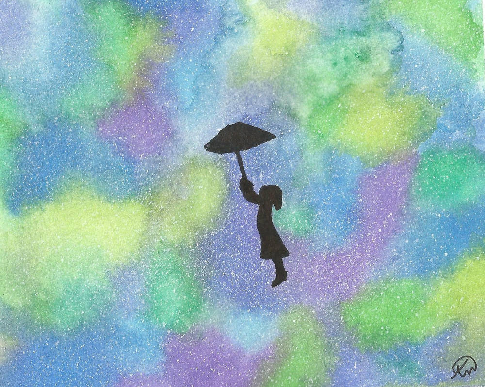 water color galaxy silhouette by amartworks