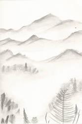 misty mountain landscape by amartworks
