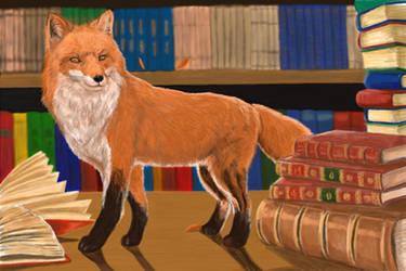 The fox and the library by Wondercookies