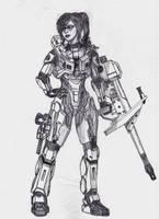 Heavy-weapon Spartan Girl by Sacrafire