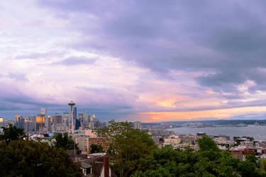 Seattle Skyline Stormy Sunset by LeGreg