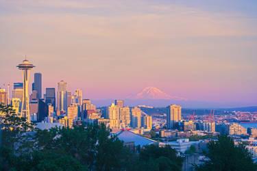 Seattle Skyline and Mount Rainier at Sunset by LeGreg