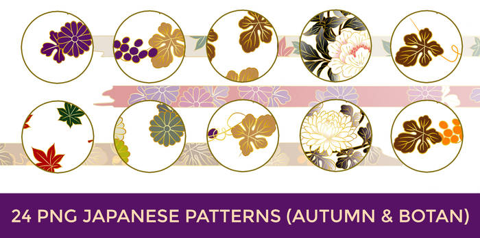 24 PNG Japanese Pattern (Autumn and Botan) by o-yome