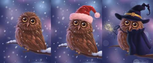 A Cute Owlet (variants) by Ksenos-ks