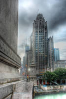 Tribune Tower and Bridge by spudart