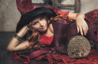 Gytha and the hedgehog by HomoBernardus