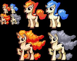 Ponymon - Ponyta and Rapidash by DMN666