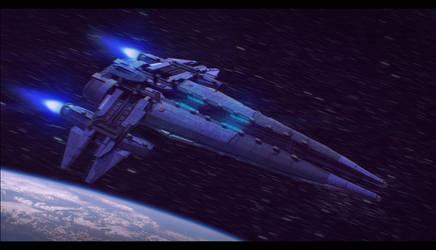 Izanagi Spaceship 3D Commission by AdamKop
