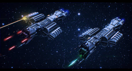 Babylon 5 Omega Destroyers At Battle - commission by AdamKop