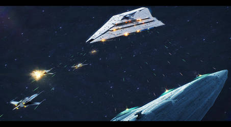 Star Wars MC85 versus Imperator II class ISD by AdamKop