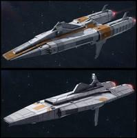 Textspaced 3D Ship renders - Frigate variants by AdamKop