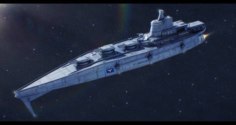 Sci-Fi Warship Commission by AdamKop