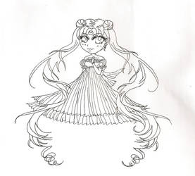 Princess Serentiy line art by RamenG553