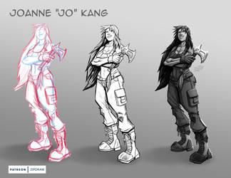 Twitch Stream Sketch Femme Fatale Jo Kang by ZipDraw