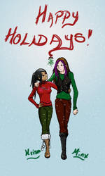 Minx and Krism Holidays by aeiouthemouse