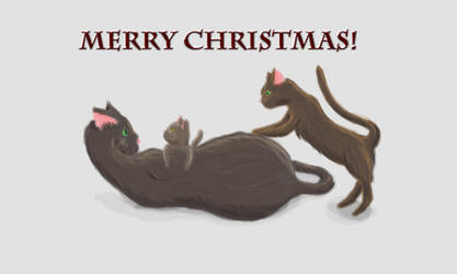Christmas Mother and Kittens by aeiouthemouse