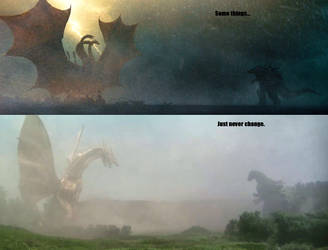 Godzilla vs King Ghidorah Now and Then by KaijuAlpha1point0
