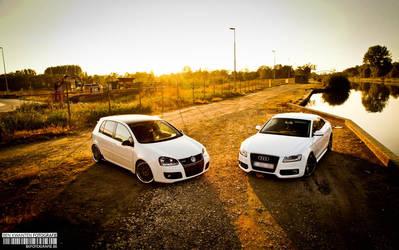 white duo Golf 5 GTD  Audi A5 by bekwa