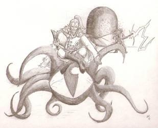 Necromancer Astride Eyeball Beast by Halcenion