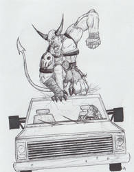 Demon Attacking Car by Halcenion