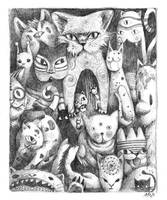Mysterious Cats - drawing by frecklefaced29