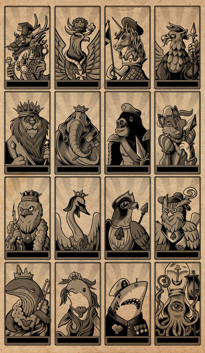 Animal Tarot Deck - Minor Arcana Royal Court Cards by SouthParkTaoist