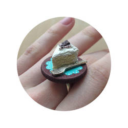 Vanilla Cake Polymer Clay Ring by heysugar