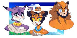 Sonic Next Gen: Bones, Rose, and Tiny (SticksxBig) by MonstrousLupus