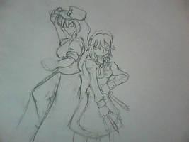 WIP - Sakuya and Meiling by Sadie-Dkirin