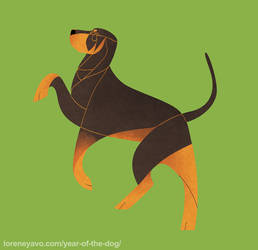 Year of the Dog - Black and Tan Coonhound by Kelgrid