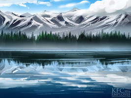 Lake by the mountains by Chickenbusiness