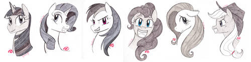 Inktober Mane 6 Pony Portraits by RyuRedwings