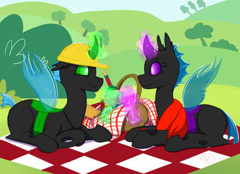 Commission: Changeling Picnic by RyuRedwings