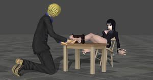 Sanji tickling Robin by accomplice21