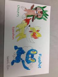 My Drawing of Pokemon X and Y starter Pokemon by cheriathesummoner2