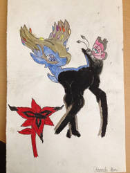 Drawing of Xerneas with Vivillion  Eternal Flower by cheriathesummoner2