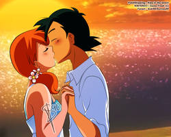 Pokemon :: Ash and Misty :: Kiss in the beach by Sunney90